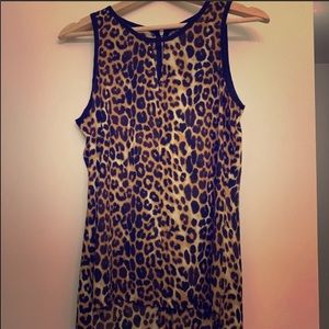 Express leopard Keyhole front blouse small